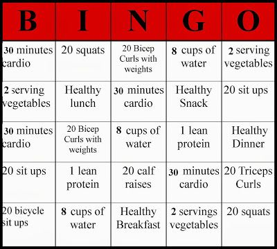 healthy bingo, fitness bingo, fitness, healthy, health, fun