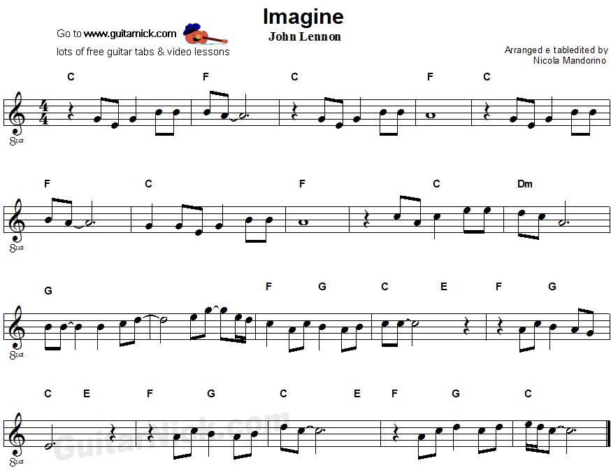 Imagine - easy guitar sheet music   Easy guitar   Pinterest   Easy ...