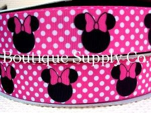Disney Minnie Mouse Pink Polkadot  1 grosgrain by BoutiqueSupplyCo, $7.50