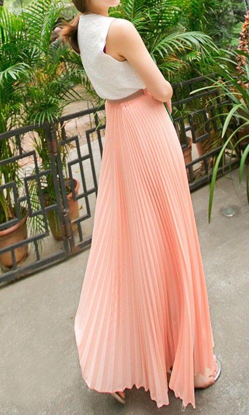1582b0c485f5 Pastel Peach Pleated Maxi Skirt | fashion | Fashion, Style, Fashion ...