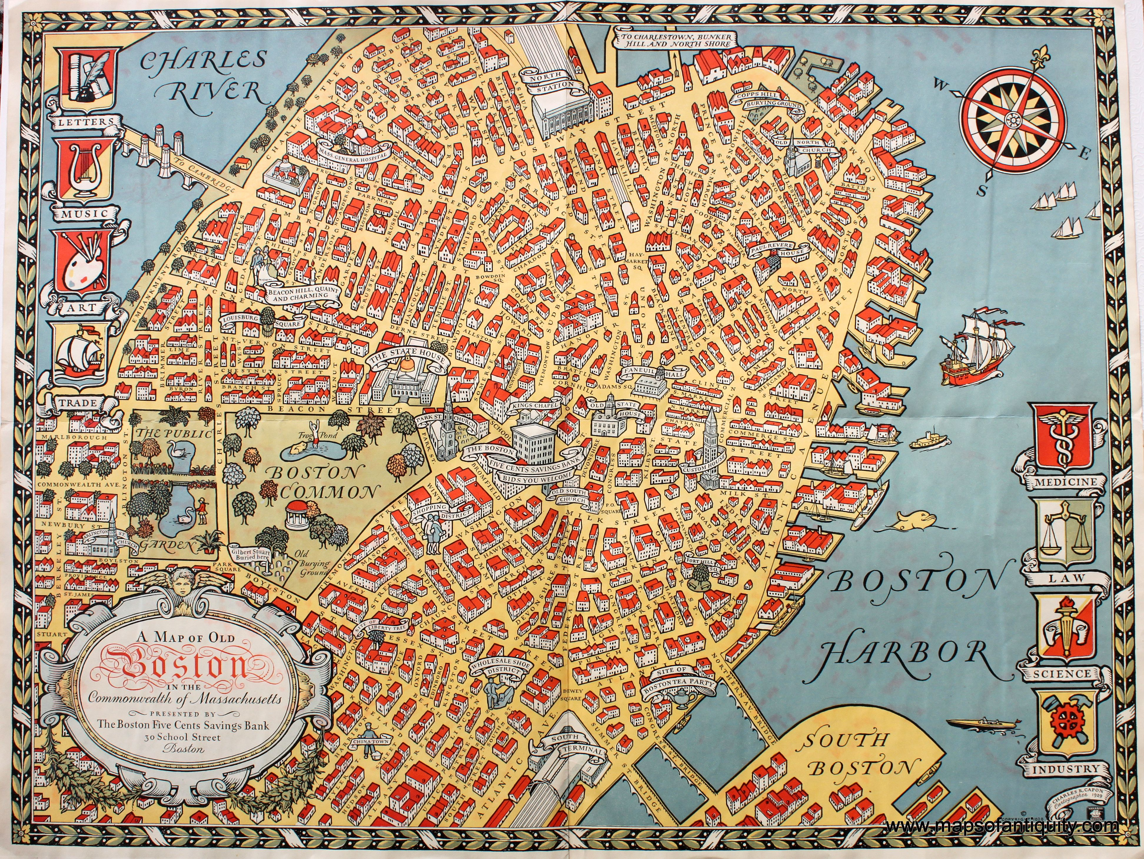 A Map of Old Boston in the monwealth of Massachusetts Colorful