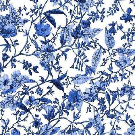 Rococo Indigo Fl C 1788 1792 Bonnie Phantasm Blue And White Fabric