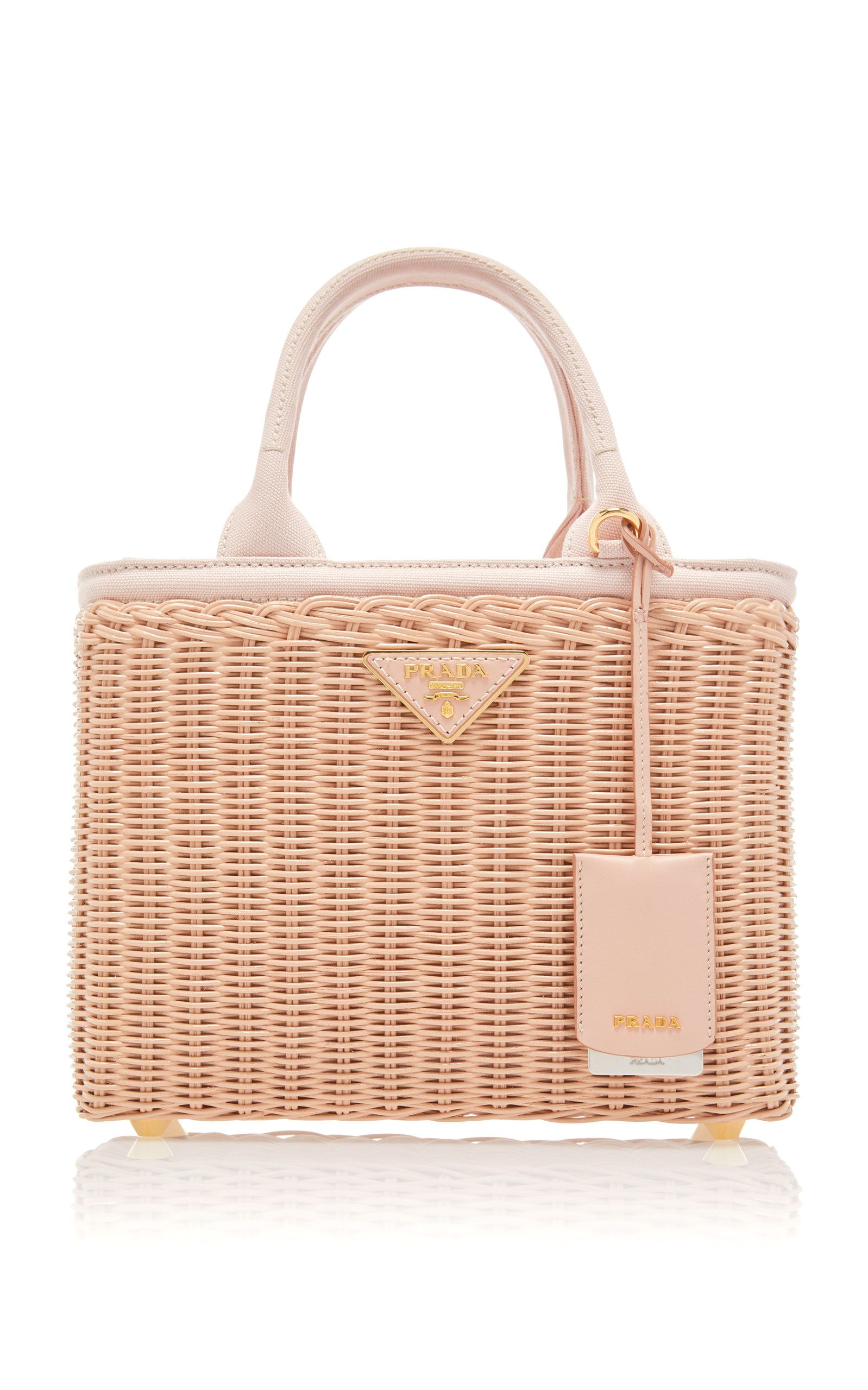 af2605bacba203 PradaWoven Raffia ToteColorPink$1,550 Metallic Leather, Soft Leather, Prada  Tote, Slingback Flats,
