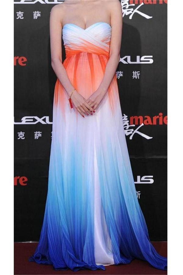 fbad5a81cf Beautiful Long Sweetheart Lace Up Colorful Ombre Chiffon Prom Dresses Z0521   promdress  promdresses  promgowns  eveningdresses  partydresses  women   fashion ...
