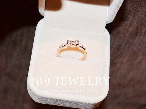 B961 Gold Bowknot Ring Zircon Small Gift For Girlfriend Mom Birthday