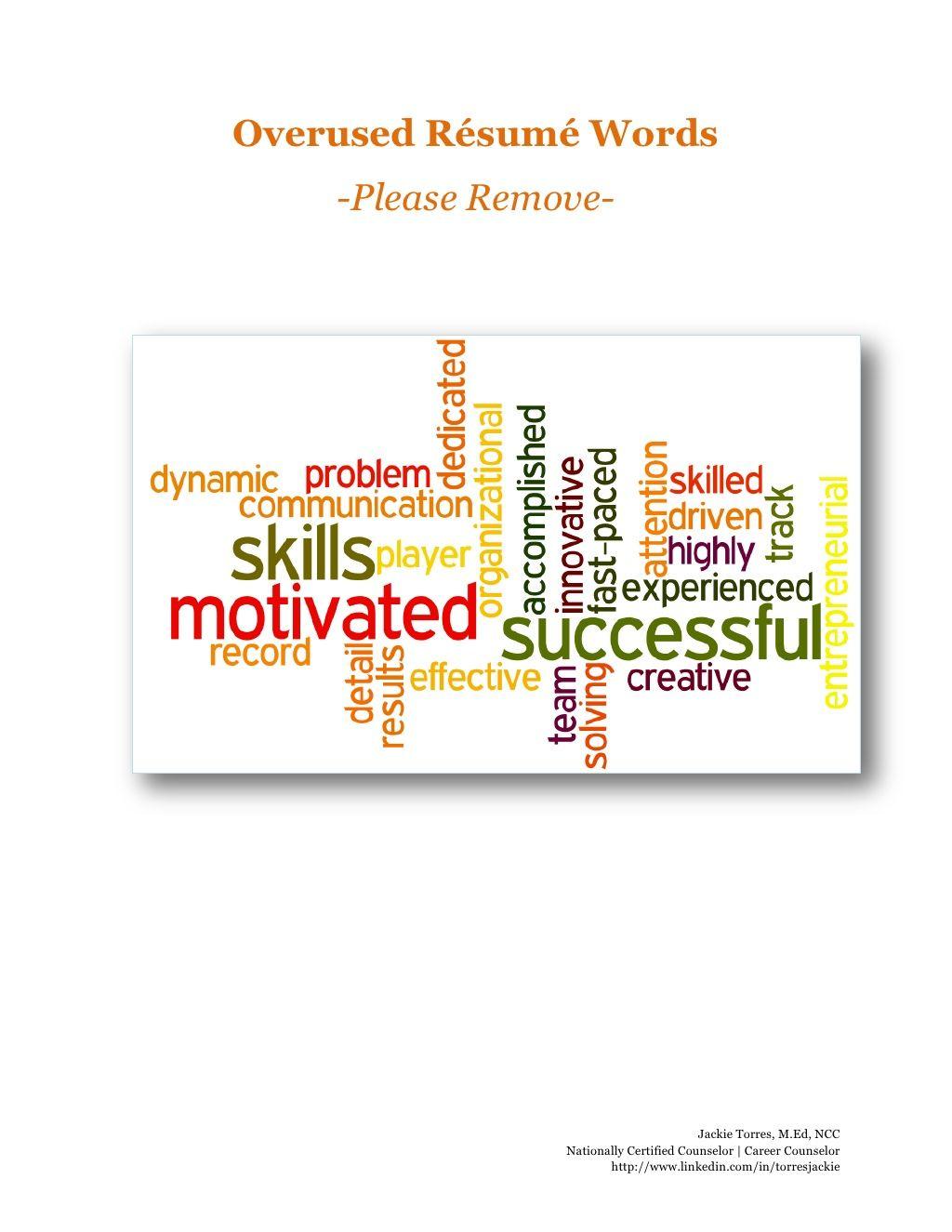 Overused Resume Words Take Em Out Via Slideshare Words