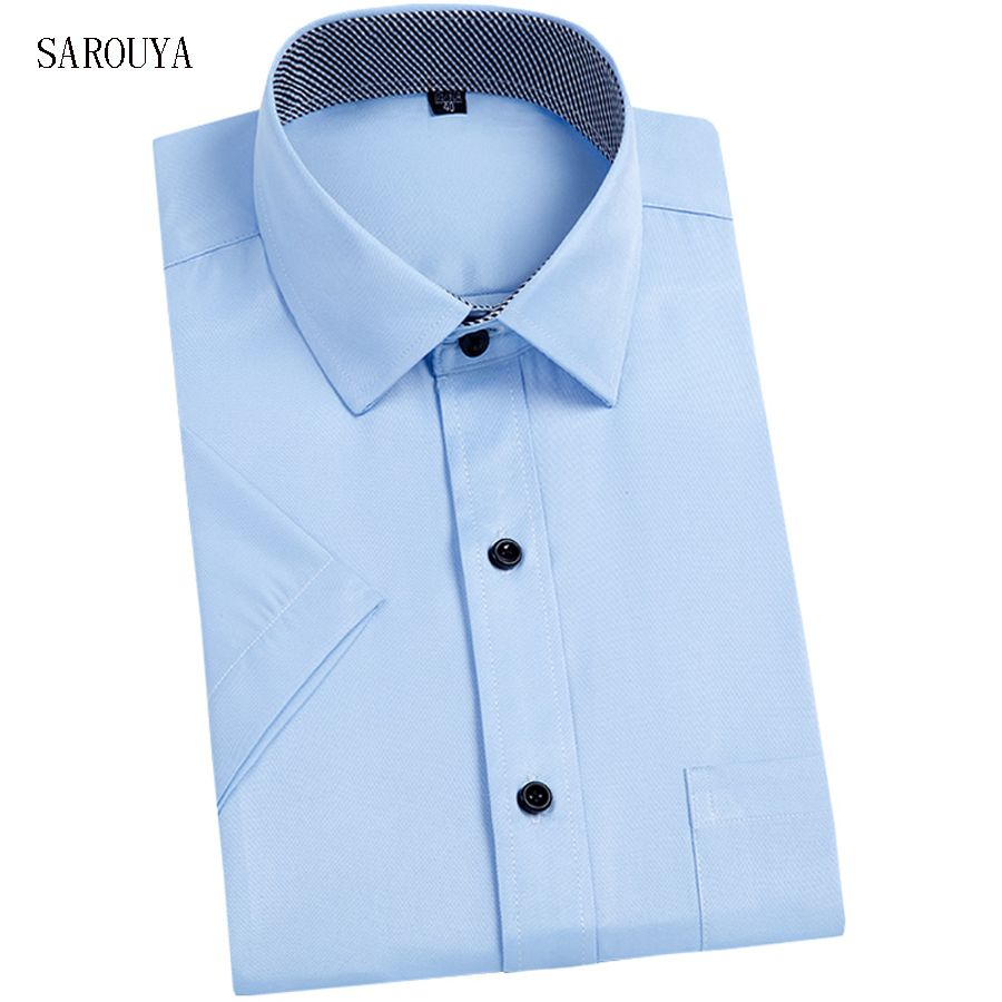 Click to buy ucuc sarouya men shirt short sleeve slim fit solid color