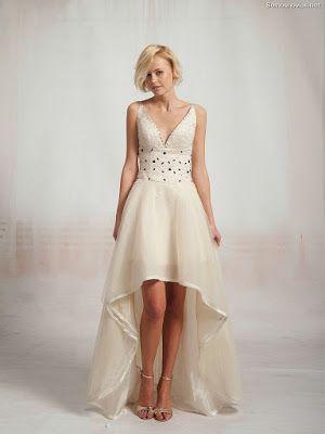 Vestidos novia cortos con cola