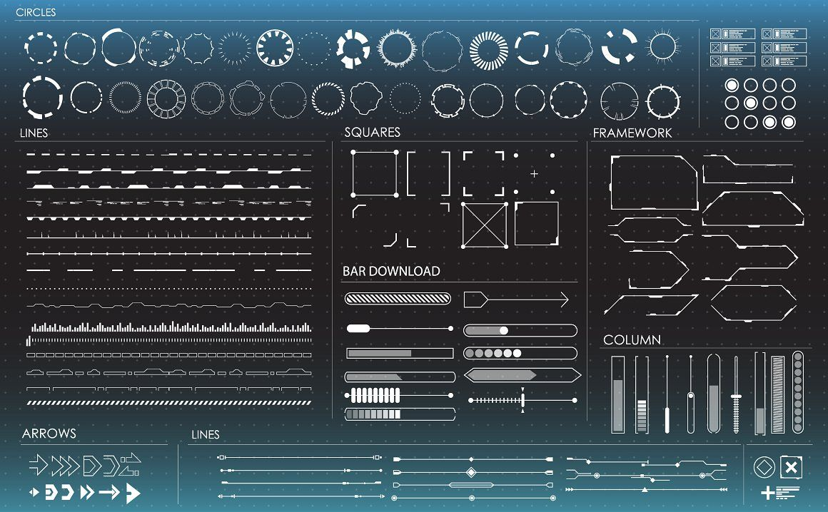 Set Of Black And White Hud Elements Black And White User Interface Watercolour Texture Background