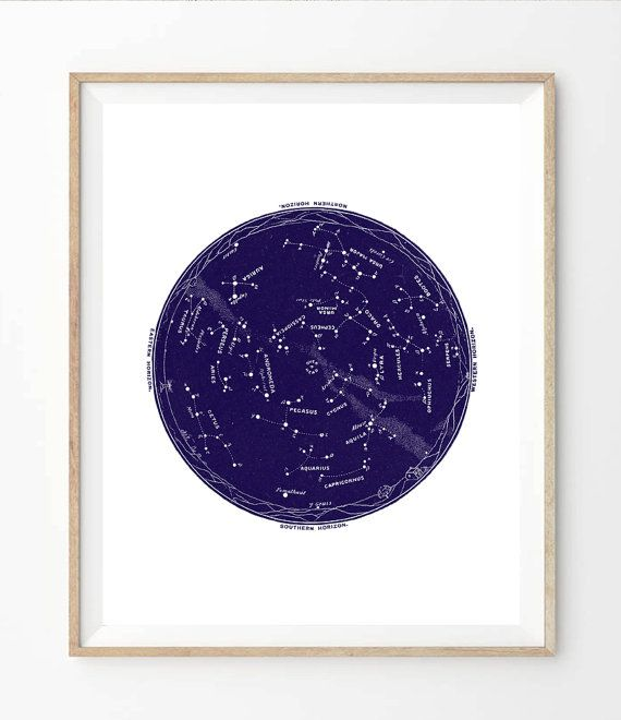 Printable Star Map Indigo Blue Vintage Instant Digital - Printable star map