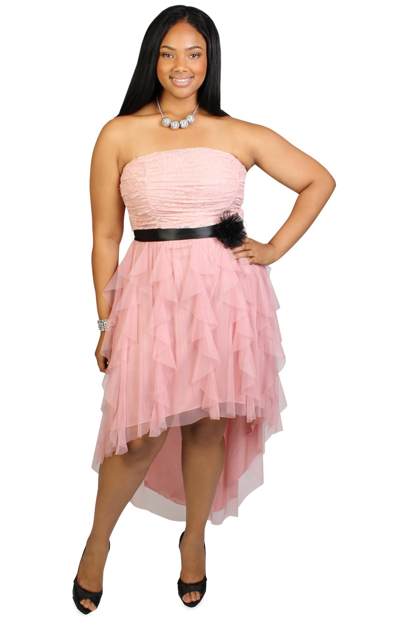 plus size high low ruched mesh short prom dress with tendril skirt ...