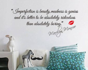 Ordinaire Wall Decal Quote  Imperfection Is Beauty,madness Is Genius  Marilyn Monroe  Red