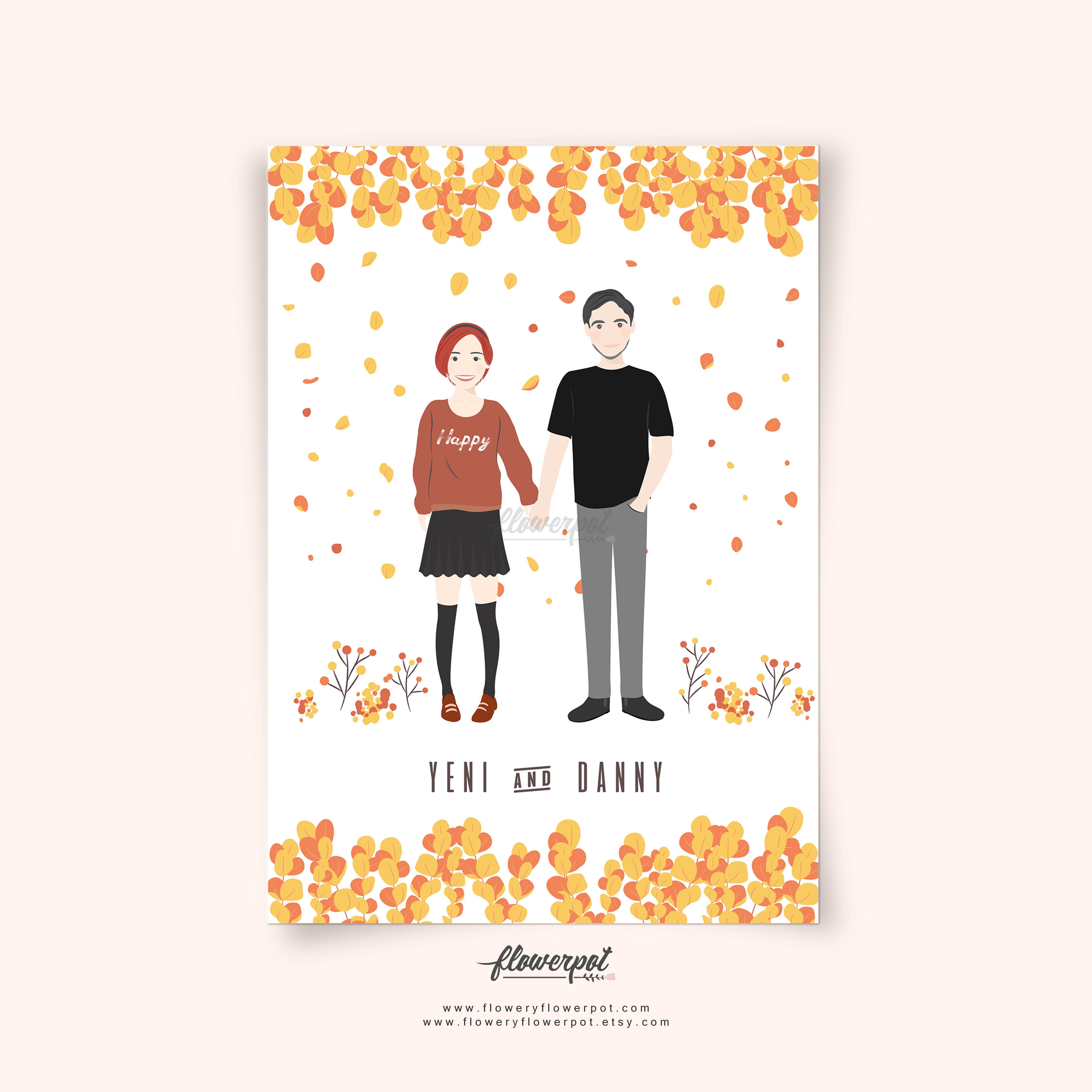 Custom couple portrait illustration wedding anniversary gift