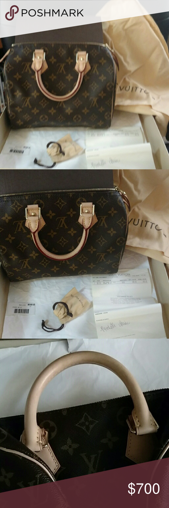 Louis Vuitton speedy 25 In perfect condition! Never carried only taken out to photo. Comes with original box and locks with keys. As well a receipt and dust cover. Louis Vuitton Bags Mini Bags