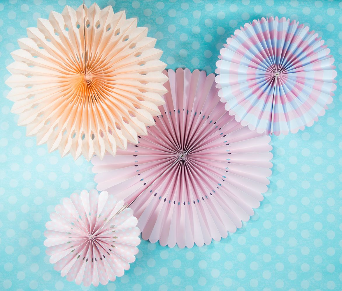 Pink Rosette Paper Flower Backdrop Party Wall Decoration Combo Kit