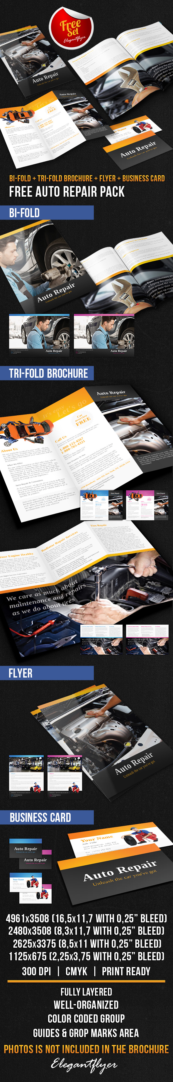 auto repair brochure pack free psd template brochure template
