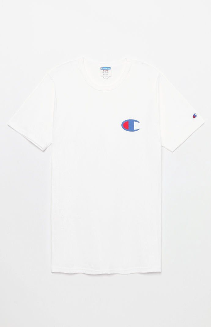 Champion Big C Logo TShirt Navy Sml Shirts, White tee