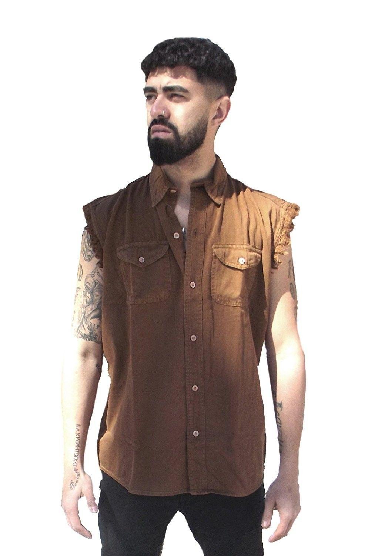 CD D C Mens Cut Off Sleeveless Cotton Denim Button up Biker Motorcycle Shirts