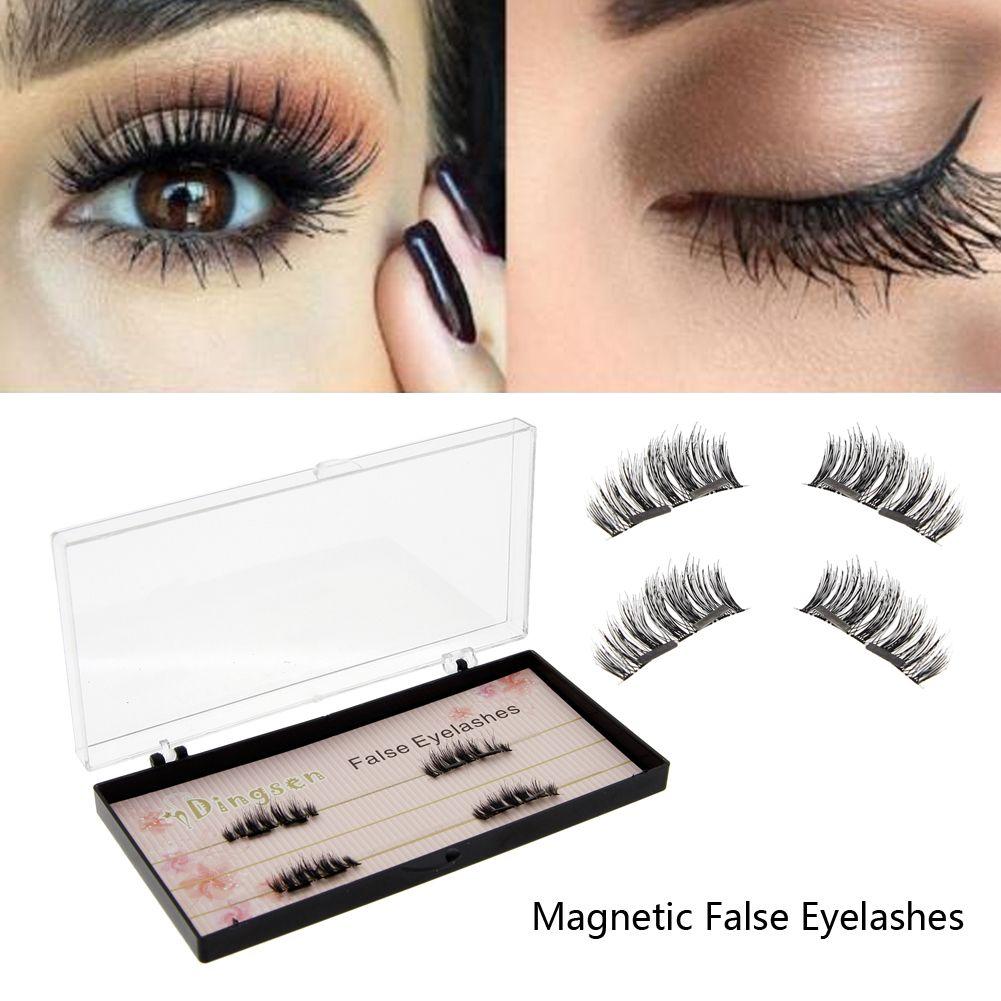 d8b0123a382 $3.09 - 4Pcs Women Beauty Hot 3D Double Magnetic False Eyelashes Long  Natural Eye Lashes Extension