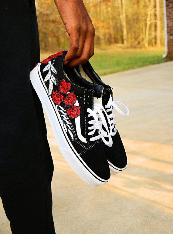 Custom Rose Old Skool Vans Sneakers Shoes vans custom vans | Vans ...