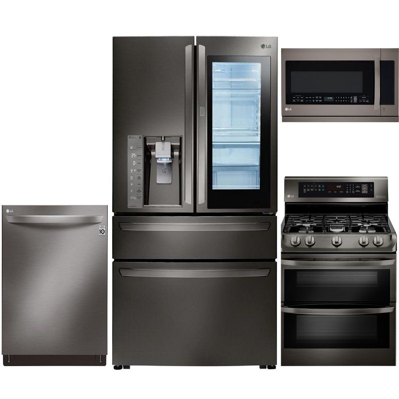 Lg 4 Piece Gas Kitchen Appliance Package With 22 5 Cu Ft French Door Refrigerator Black Stainless Steel Kitchen Appliance Packages Kitchen Appliances Built In Dishwasher