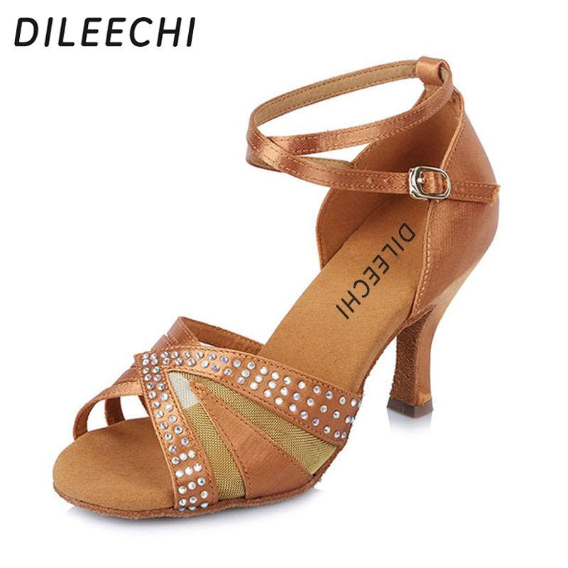 DILEECHI Satin latin dance shoes Salsa Party Dance Shoes For Women Girls  Ladies Professional Rhinestone Ballroon 32d4fac4156f