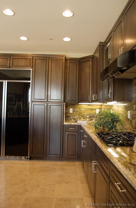 Traditional Dark Wood-Walnut Kitchen Cabinets #13 (Kitchen-Design ...