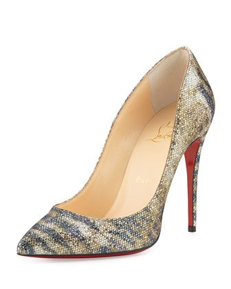 Pigalle Follies Glitter Red Sole Pump, Gold/Platine by Christian Louboutin at Neiman Marcus.