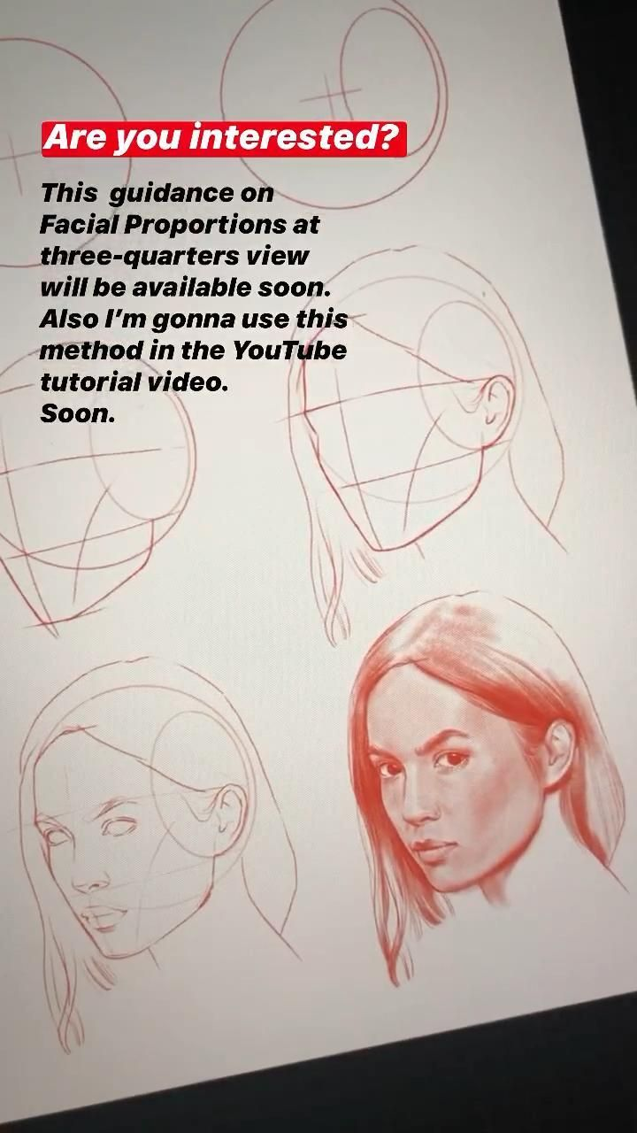 How to draw a face at 3/4 view in 2020   Face drawing ...