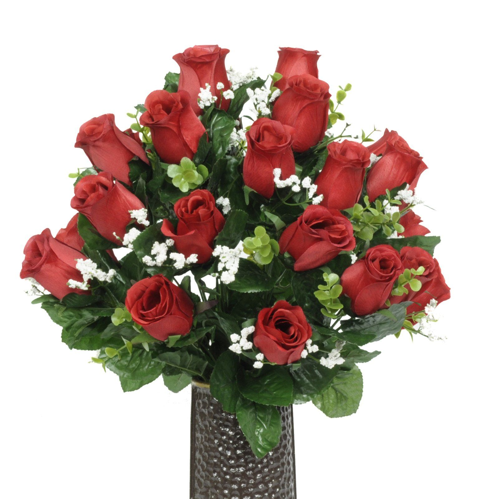 Red Rose Silk Flower Bouquet With Stay In The Vase Design Flower
