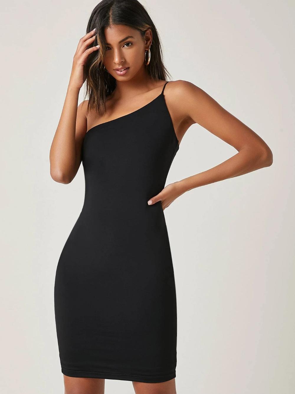 One Shoulder Solid Bodycon Dress Shein Usa Dresses Bodycon Dress Fashion [ 1332 x 1000 Pixel ]