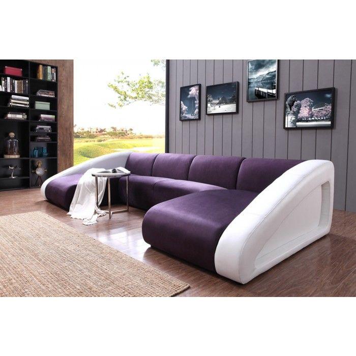 Divani Casa 0916 Modern Purple U0026 White Fabric U0026 Leather Sectional Sofa