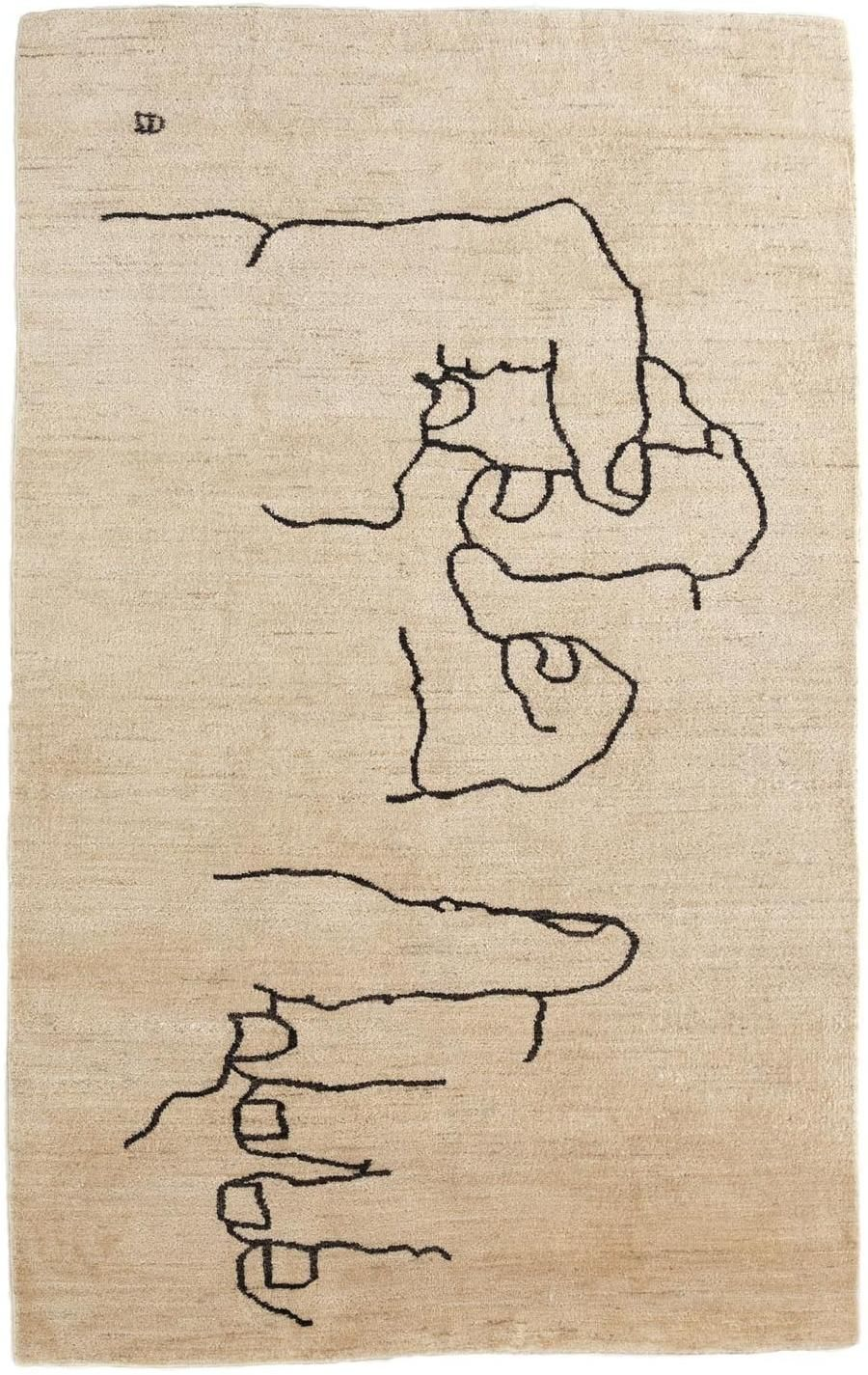 Manos 1995 by Eduardo Chillida; Nanimarquina's wool rug 6x9 $7293 . http://nanimarquina.com/design-rug/manos-1995/170:275::/ . http://www.2modern.com/products/chillida-manos-1995-rug