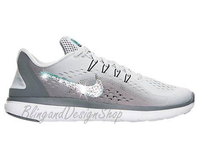 bd976c9ec1290c Swarovski Nike Flex 2017 RN Gray Nike Shoe with Swarovski Crystals Bling  Sneakers Authentic New in