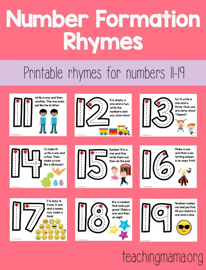 Number Formation Rhymes is part of Numbers preschool, Teen numbers kindergarten, Teaching teen numbers, Numbers kindergarten, Teaching teens, Teaching numbers - I'm excited to share with you my Number Formation Rhymes! I've been teaching my little ones how to write numbers and wanted some rhymes to help them remember the formations  I found these rhymes and