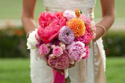 coral purple orange beautiful bouquet