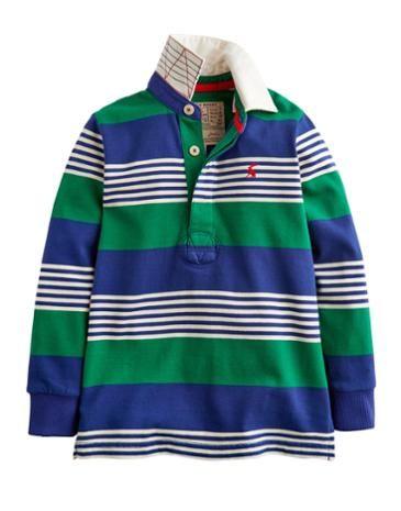 Joules Boys Classic Rugby Shirt, Oak Green Stripe.
