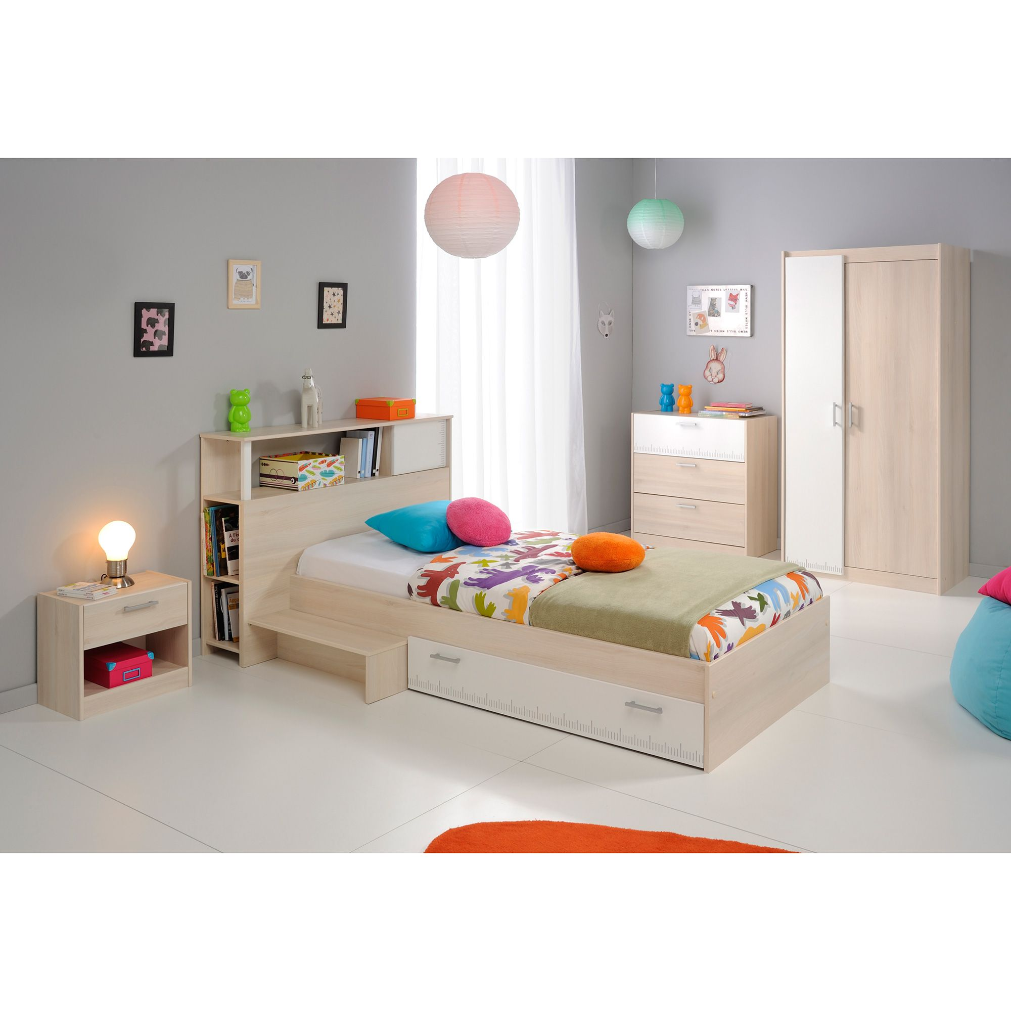 ensemble lit simple en bois tiroir et marche et pont de. Black Bedroom Furniture Sets. Home Design Ideas