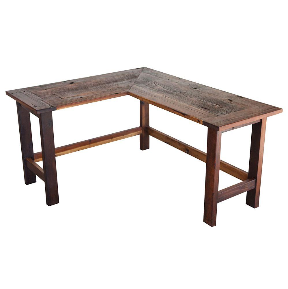 L Shaped Reclaimed Barn Wood Desk Walton Woodcraft