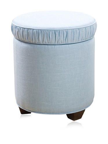 45% OFF Sandy Wilson Cashmir Round Storage Ottoman, Light Blue