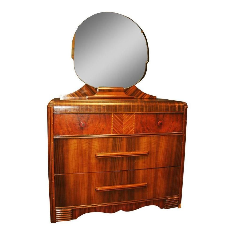 Art Deco WATERFALL DRESSER w Mirror chest of drawers vintage ...