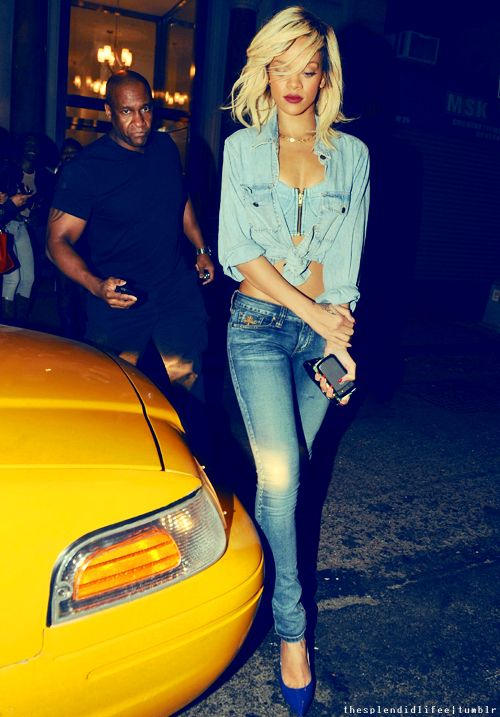 hair pumps styles rihanna style denim on denim and cobalt pumps and 2959
