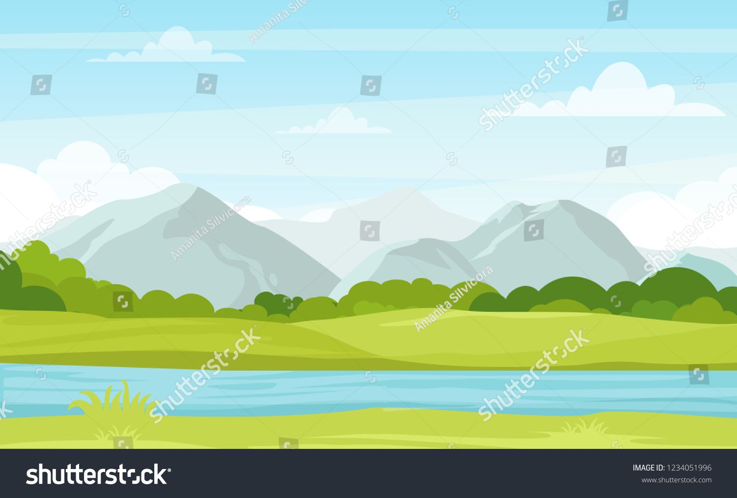 Vector Illustration Of Summer Landscape With Mountains And River Beautiful Mountains View In Cartoon Flat Summer Landscape Beautiful Landscapes Banner Design