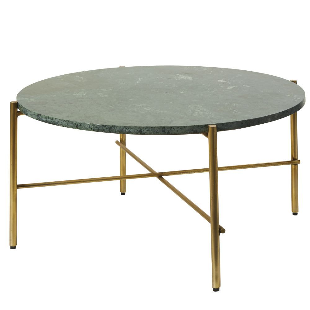 Table Basse Ronde En Marbre Vert Et Metal Coloris Laiton Pietra Maisons Du Monde Marble Round Coffee Table Metal Coffee Table Coffee Table