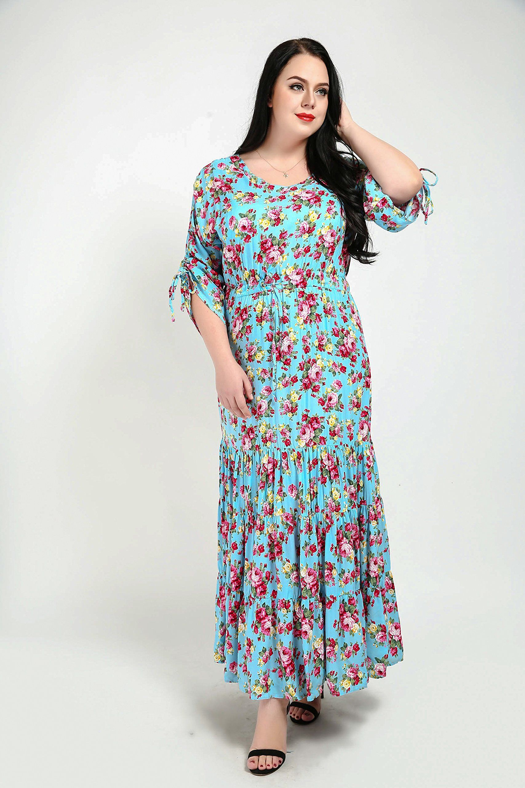 Canasour Womens 3 4 Sleeve Vintage Pink Floral Plus Size Maxi Dress Us Size 18 W Green For More In Maxi Dress Christmas Outfits Women Plus Size Maxi Dresses [ 2560 x 1707 Pixel ]