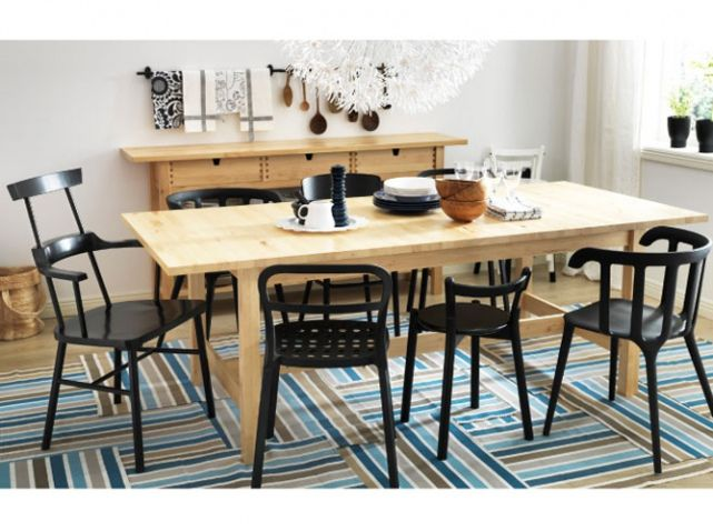 norden extendable table in solid birch seats with ikea ps black chairs and reidar black chairs i am in love with black chairs and pine table