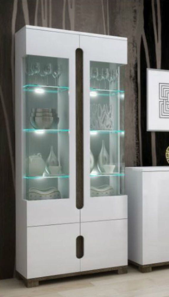 High Glosstall Display Cabinet Office Furniture White 2 Glass Door Led Lights White Display