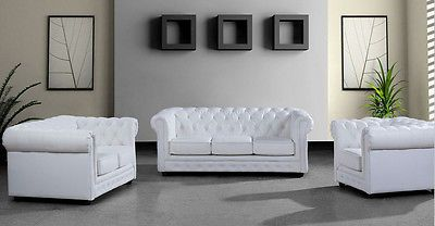 Contemporary White Italian Leather Sofa Set Loveseat Chair Tufted Design Modern White Leather Sofas Modern White Leather Sofa Contemporary Sofa Set