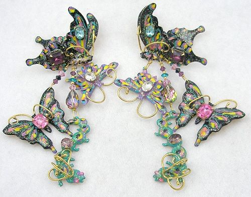 Garden Party Butterfly assemblage necklace vintage antique collage jewelry retro 1950/'s pins brooches springtime enamel rhinestone up cycled