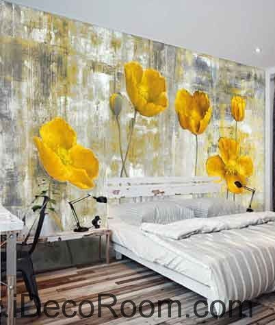 Vintage Golden Poppy Flower Painting Wallpaper Wall Decals Wall Art ...